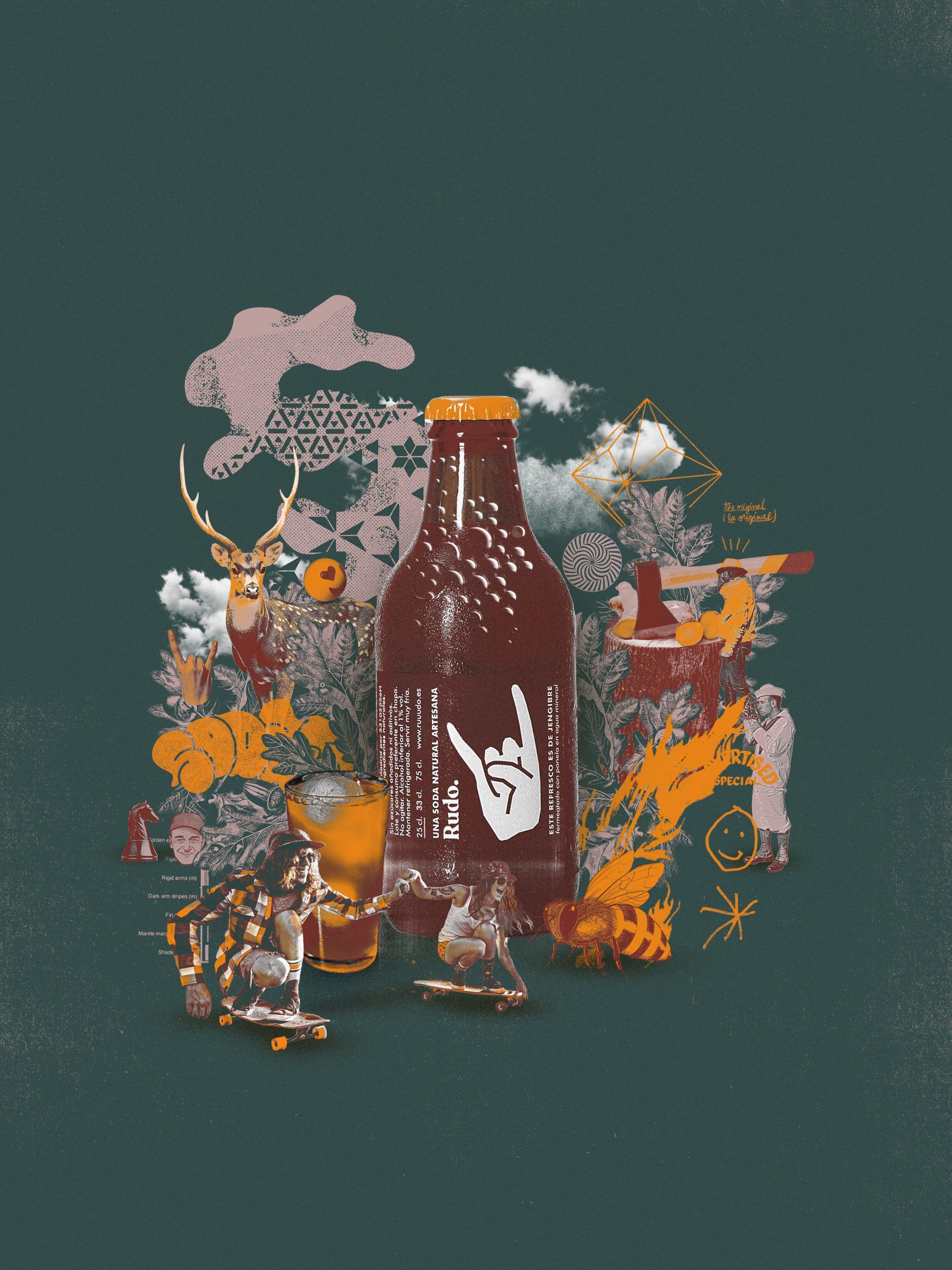 Ilustración de una botella de Rudo hecha por Max-o-matic